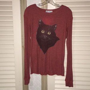 Wildfox cat kitten long sleeve top